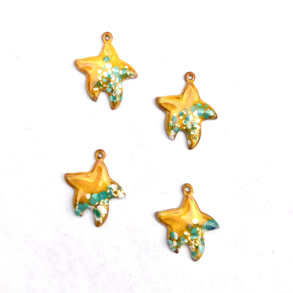 Small Starfish Torch Fired Enamel Charm - Yellow with Turquoise Speckles