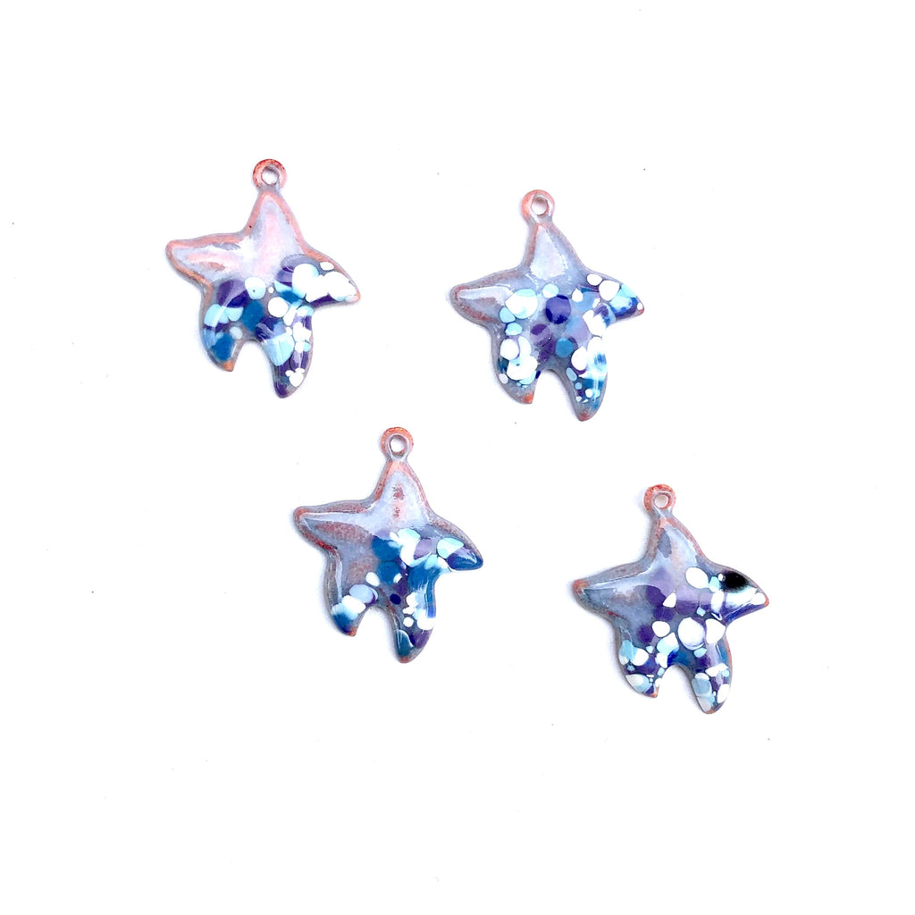 Small Starfish Torch Fired Enamel Charm - Periwinkle with Speckles