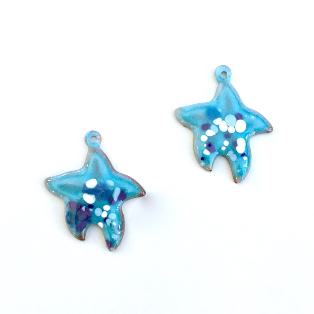 turquoise starfish enamel charms