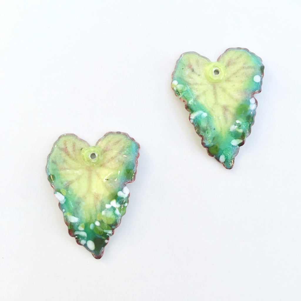 philodendron leaf enamel charms