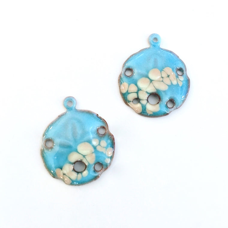 turquoise sand dollar enamel charms