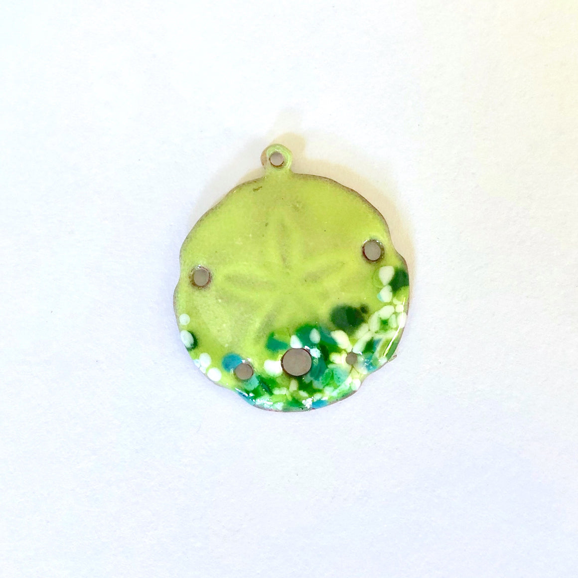 sand dollar charm lime green