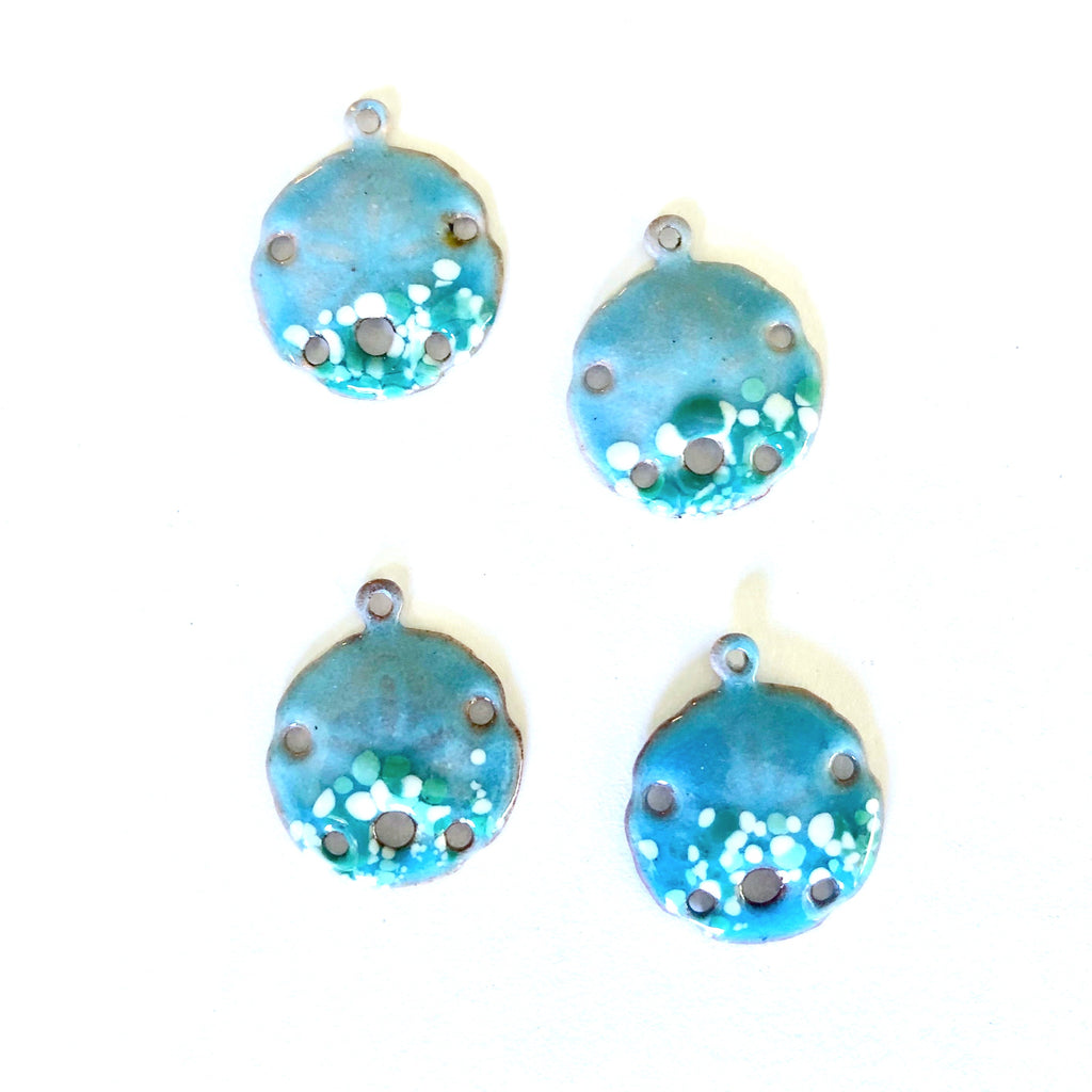 Small Sand Dollar Torch Fired Enamel Charm - Turquoise with Speckles