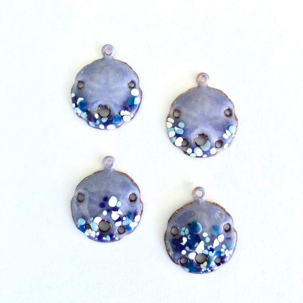 Small Sand Dollar Torch Fired Enamel Charms - Lavender with Blue Speckles