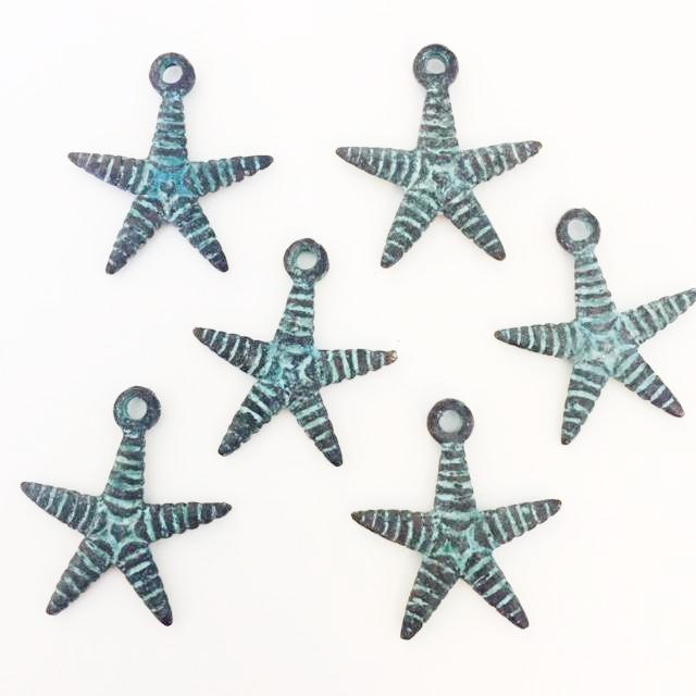 Starfish Charm - patina finish