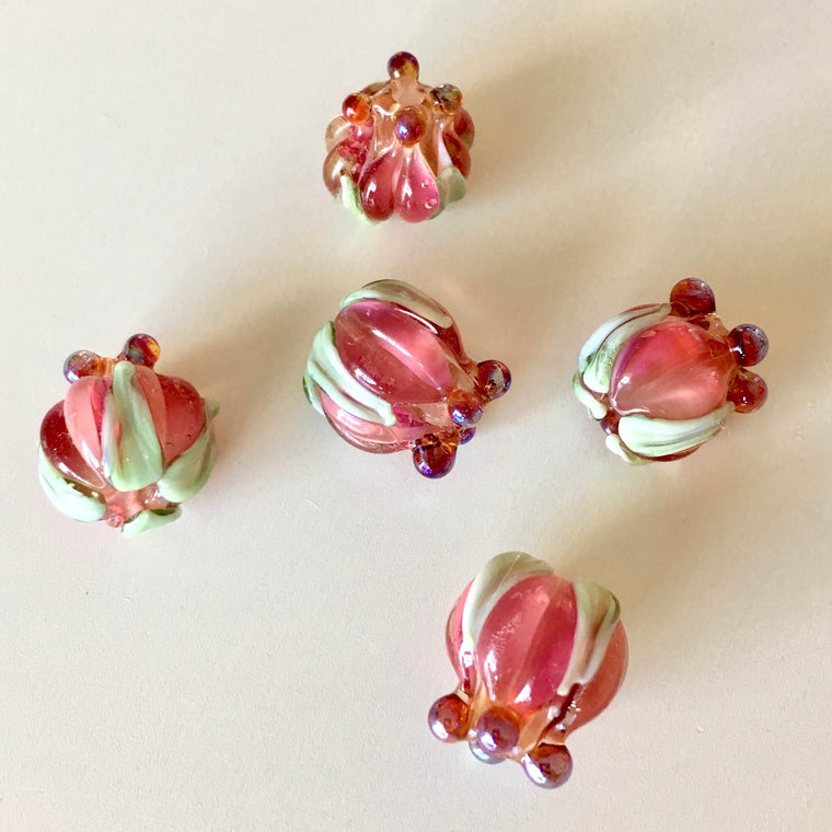 Flower Blossom Lampwork Glass Beads - Fuchsia