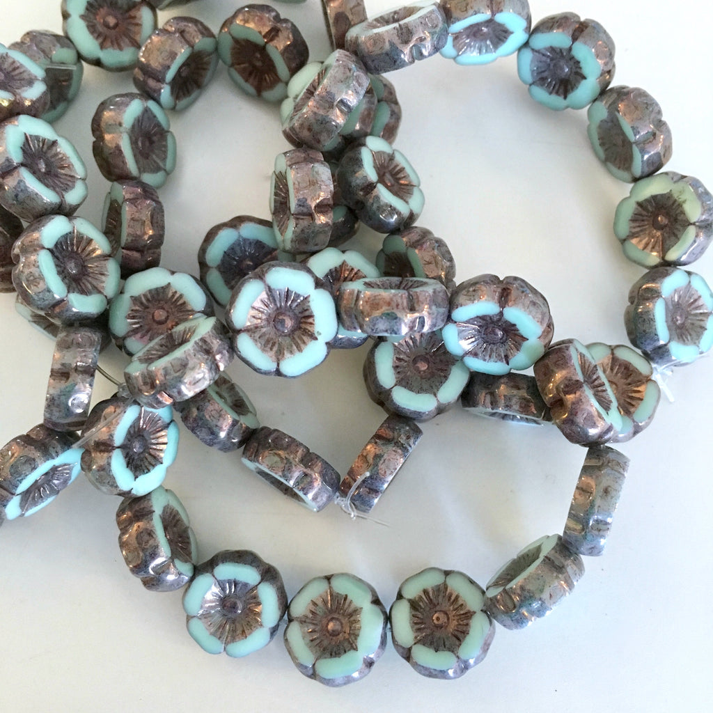mint metallic hibiscus beads