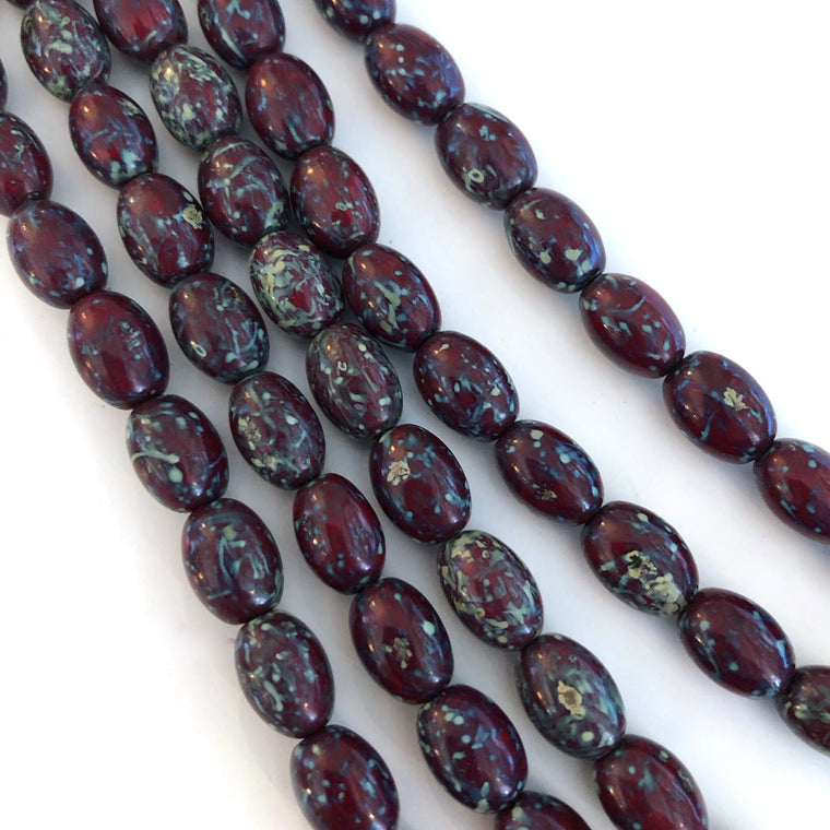 Barrel Oval Czech glass beads - Red Picasso