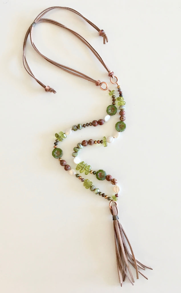 suede hibiscus necklace green