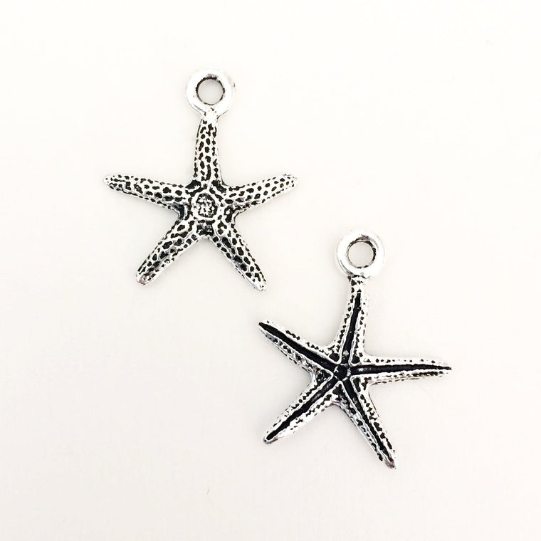 Starfish charms - silver