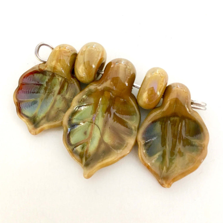 Set of Lampwork Glass Leaves - Caramel Moss