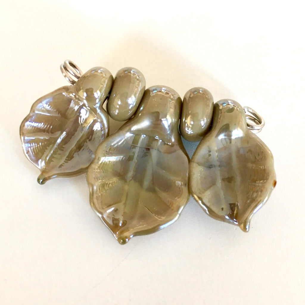 Set of Lampwork Glass Leaves - Dark Mirror Taupe