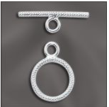 sterling silver textured toggle clasp