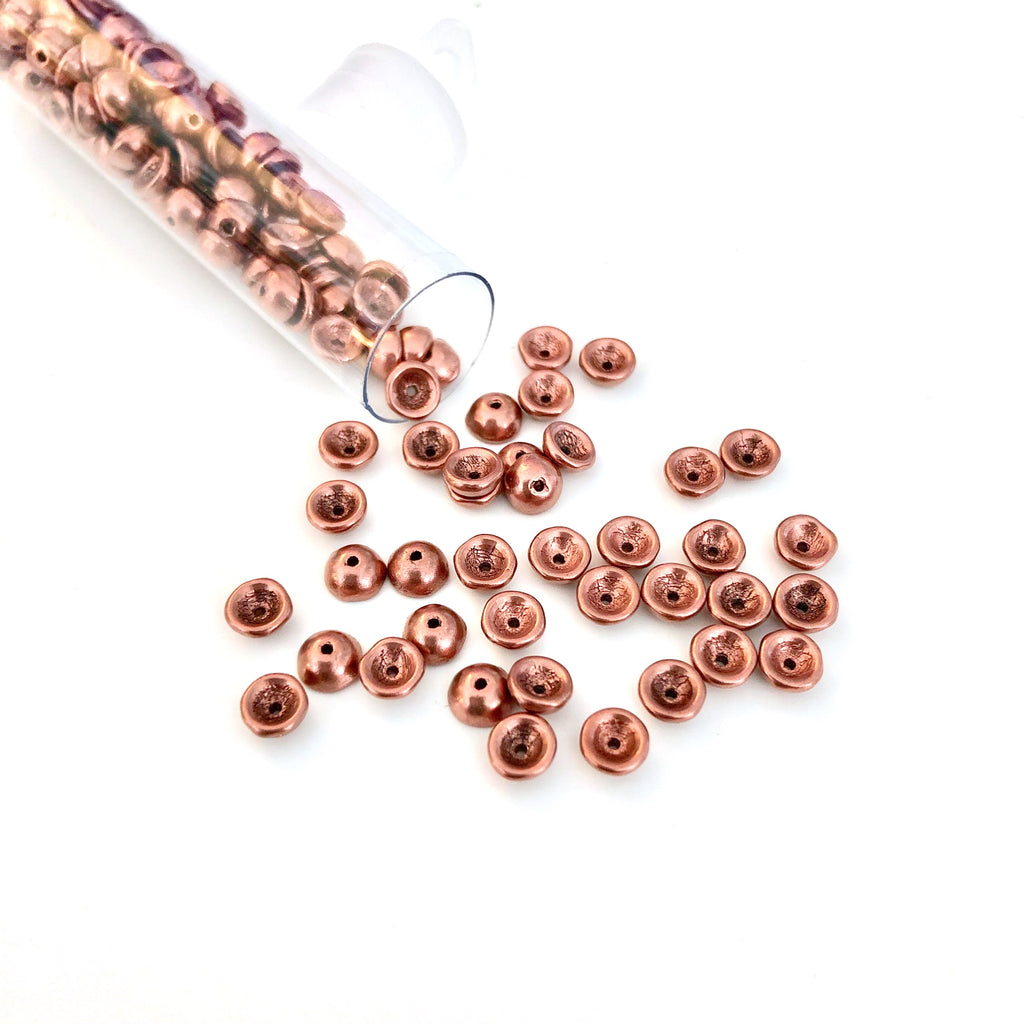 teacup beads - matte metallic bronze copper
