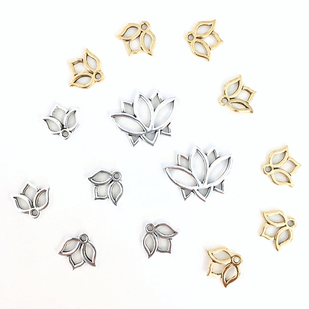 Lotus Flower Charms - small - set of 2