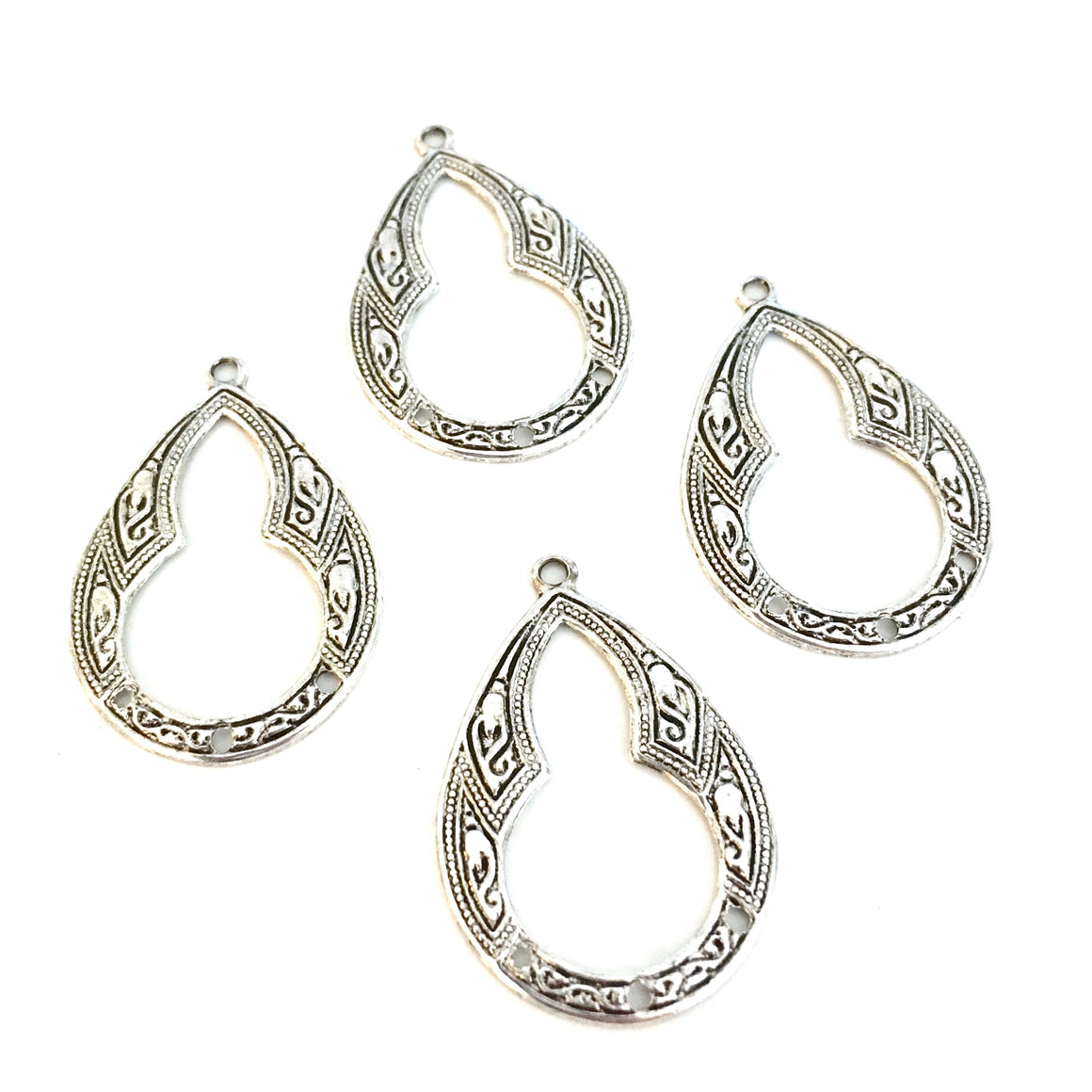 antique silver triple deco hoop charms