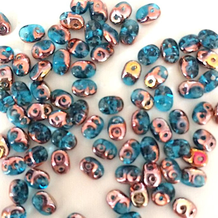 SuperDuo beads - Aqua Capri Gold Apollo