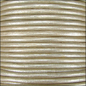 Leather Cord - cement metallic