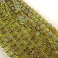 CzechMates tile beads – Transparent Olivine Picasso