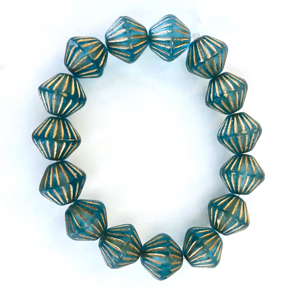 Grooved Bi-cone Czech glass beads - Matte Aqua with Gold Wash