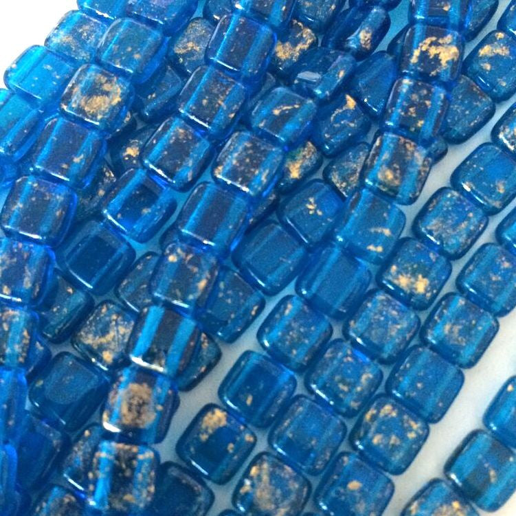 CzechMates tile beads – Gold Marbled Capri Blue