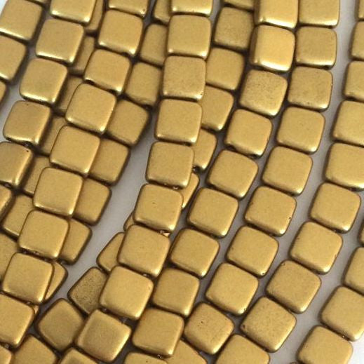 CzechMates tile beads – Matte Metallic Aztec Gold