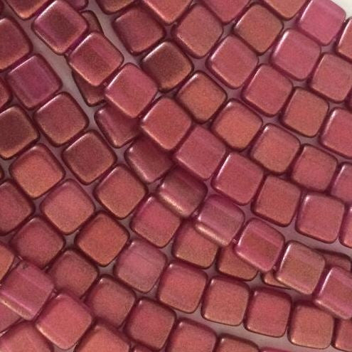 CzechMates tile beads – Halo Madder Rose