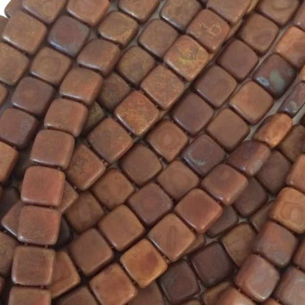 CzechMates tile beads – Matte Brown Caramel Picasso