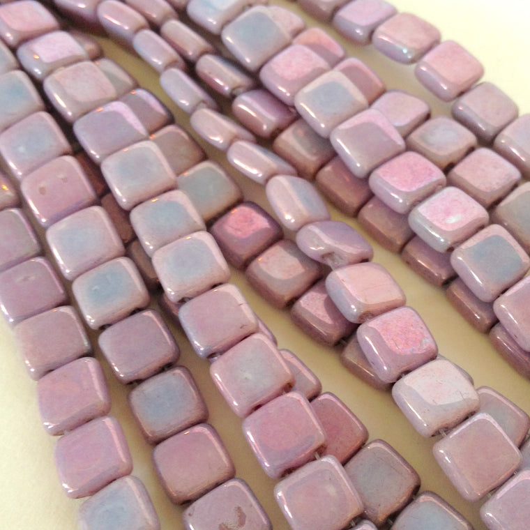 czechmate tile - Op Purple Luster - Island Cove Beads & Gallery