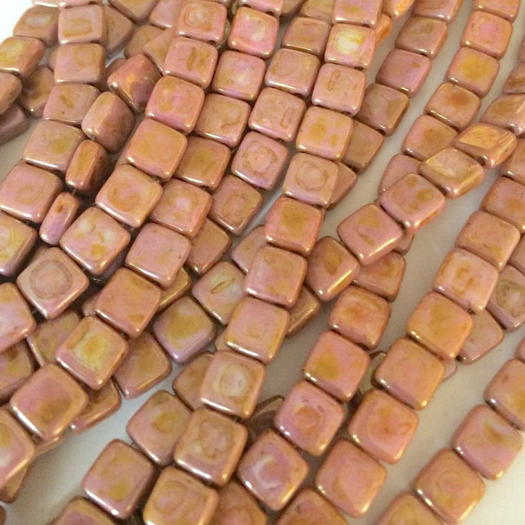 Czechmate tiles - Op Rose Gold Topaz Luster - Island Cove Beads & Gallery