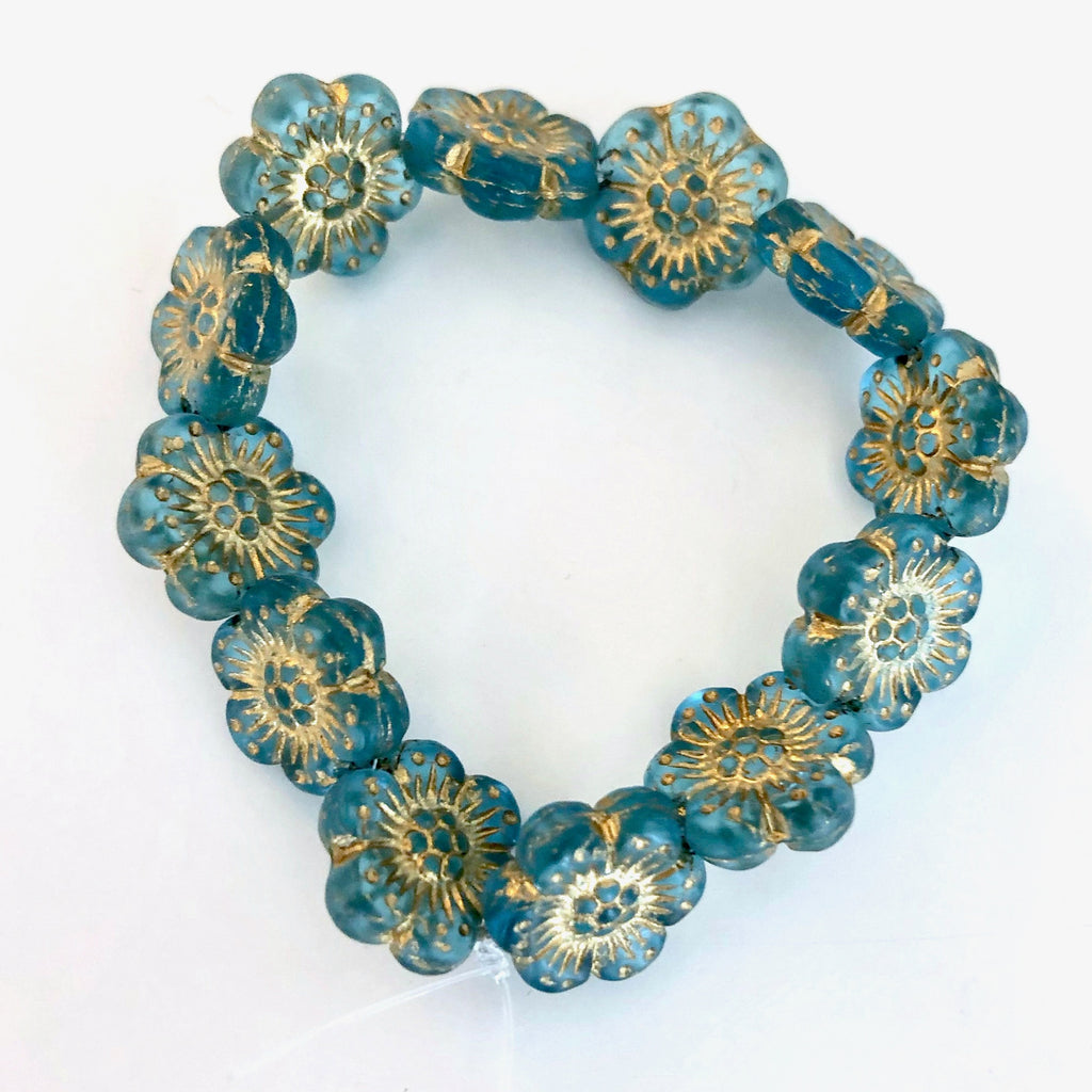 Wild Rose Czech glass beads - Aqua with Gold Wash