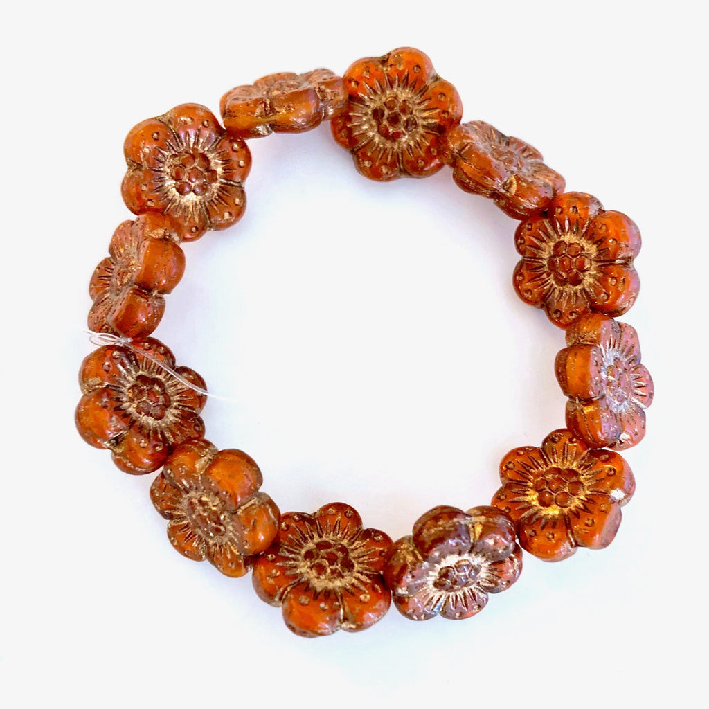 Wild Rose Czech glass beads - Orange with Gold Wash