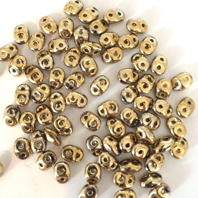 SuperDuo beads - Full Amber Gold