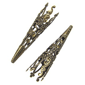 antique bronze filigree bead caps
