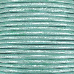 Leather Cord - light turquoise metallic