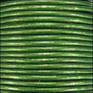 Leather Cord - olive green metallic