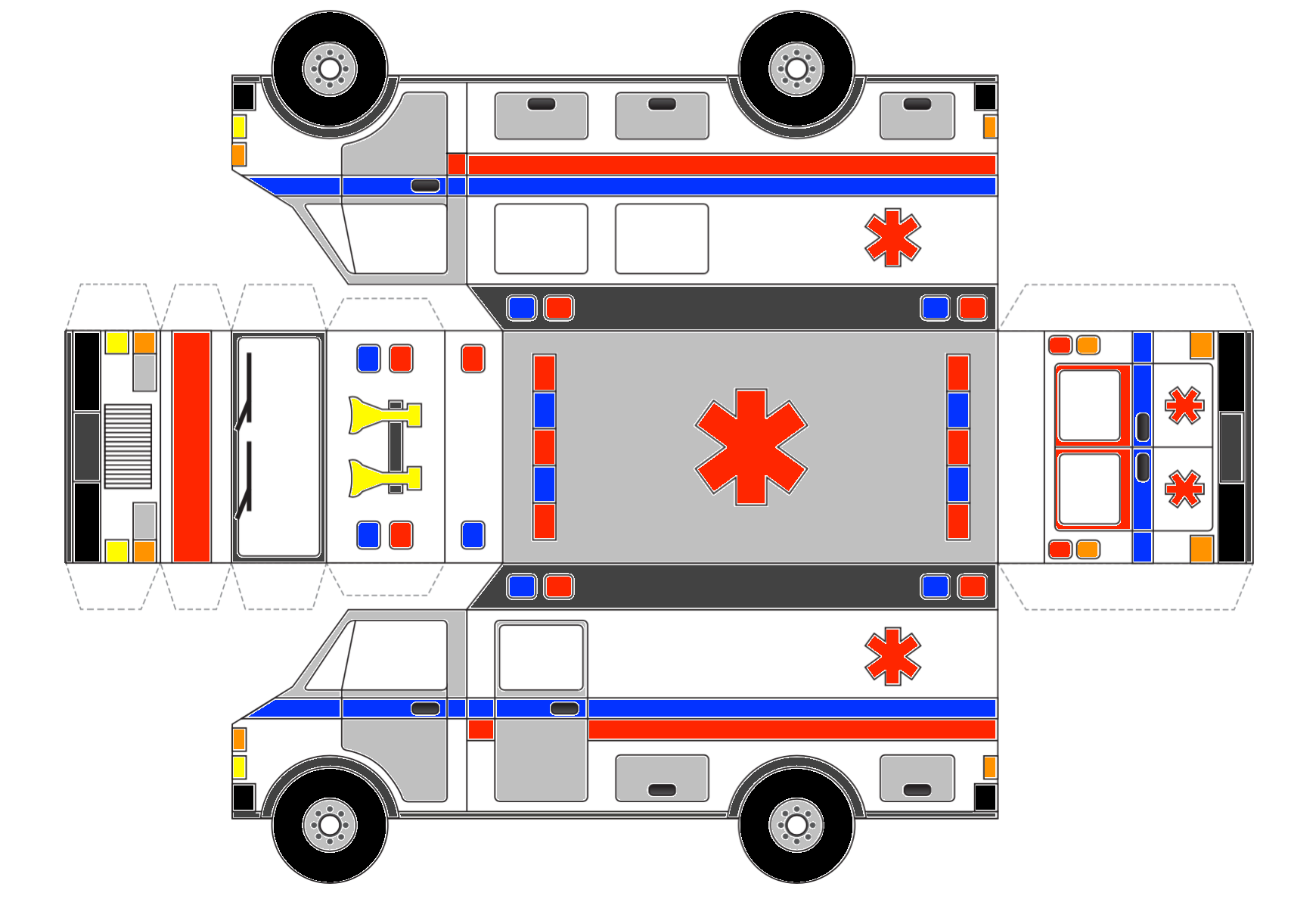 create and colour in your own ambulance - Ambulance Pictures To Colour