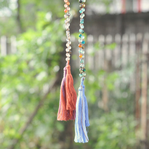 Aurora Agate & Tassel Necklace