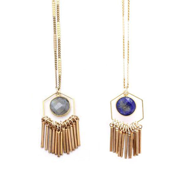 June Stone & Fringe Necklace