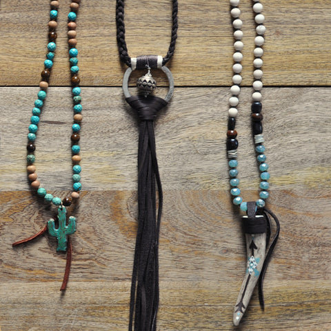 Johnny Loves June Aqua Antler Necklace