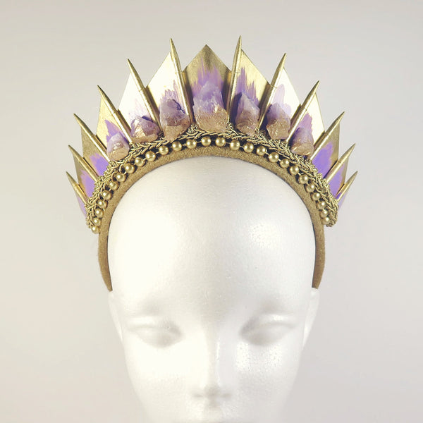 Loschy Amethyst Quartz Gold Blade Crown