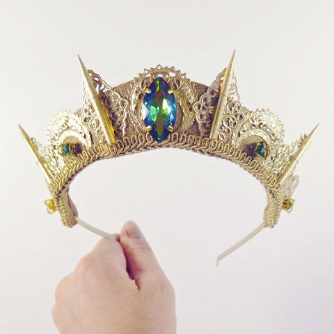 Loschy Gemstone Filigree Spike Tiara