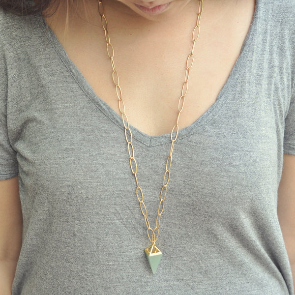 Stone Pyramid Drop Necklace