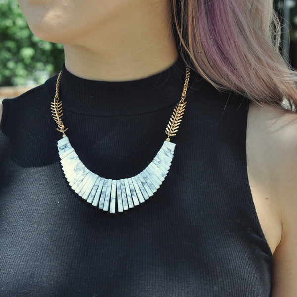 Howlite Bib Necklace