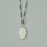 Higher Ground Hamsa Hand Crocheted Necklace