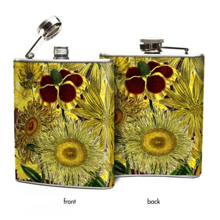 Oso + Bean - Yellow Sunflowers 6 oz Hip Flask