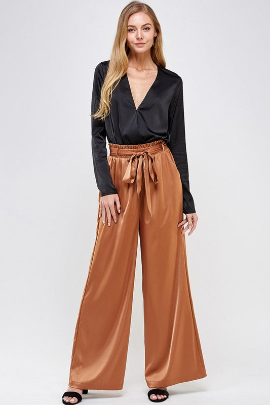 MERIDIAN SATIN WIDE LEG PANTS