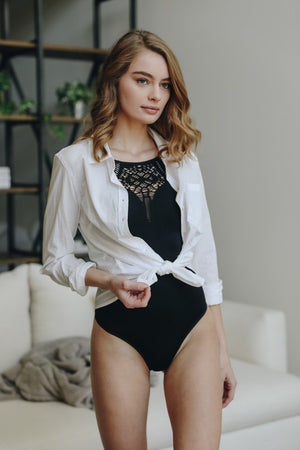BIRDIE LASER CUT BODYSUIT BLACK