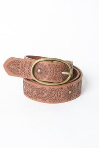 PIPPA EMBROIDERED BELT BROWN