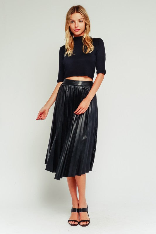 PAPILLION VEGAN LEATHER MIDI SKIRT